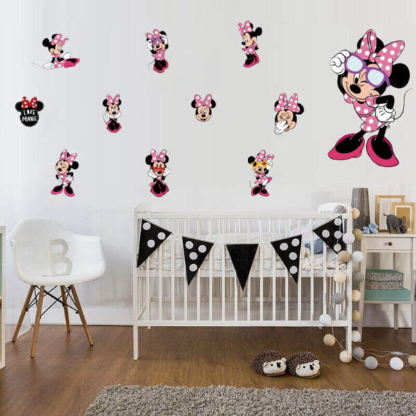 מדבקת קיר מיני מאוס מתוקה לחדרי ילדות