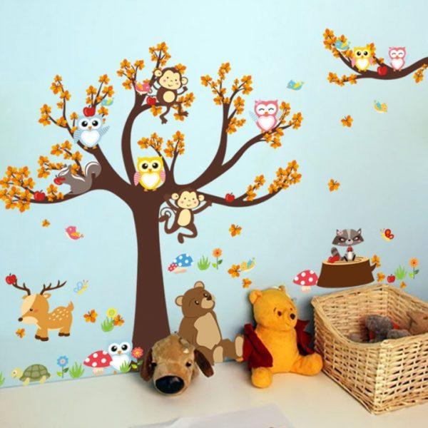 מדבקת קיר חיות היער וחברים לחדרי ילדים ותינוקות