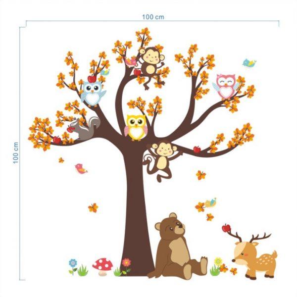 מידות של מדבקת הקיר חיות ג'ונגל וחברים