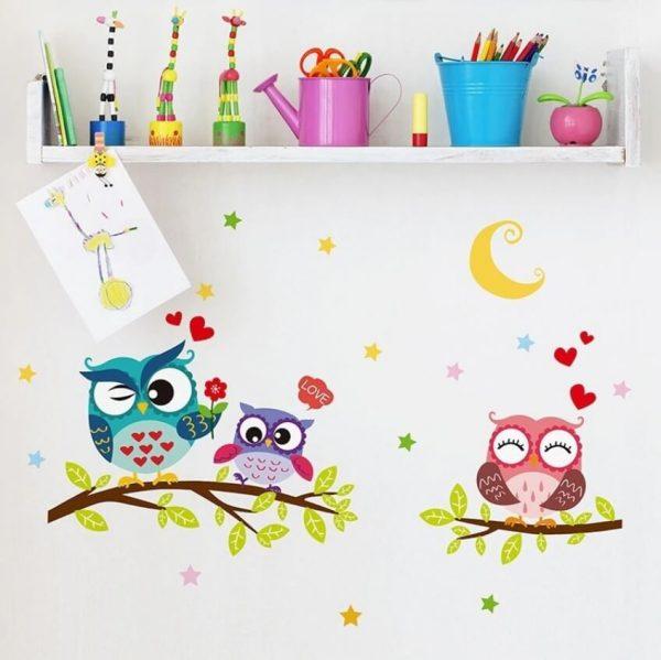 מדבקת קיר ינשופים אוהבים ילדים