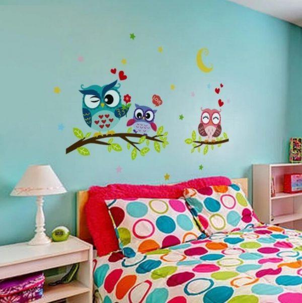 ינשופים מהממים להדבקה על קיר מעל המיטה