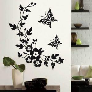 מדבקת קיר פרפרים וענף לקישוט הבית
