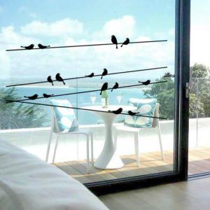 מדבקת קיר ציפורים על חוטי חשמל - מדבקה להגנה על החלון