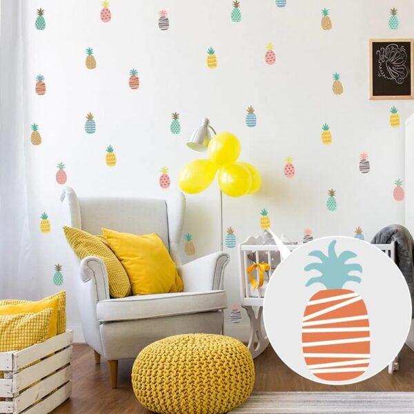 מדבקת קיר אננסים לעיצוב חדרי הבית