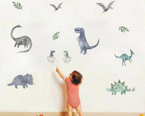 מדבקת קיר דינוזאורים לחדרי ילדים