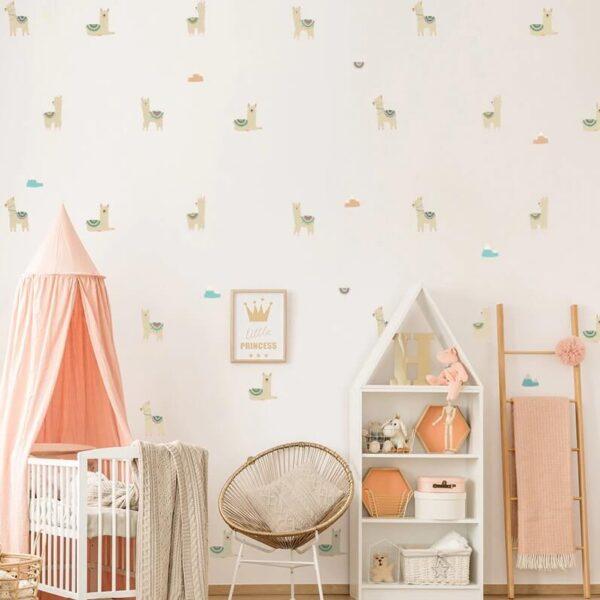מדבקת קיר אלפקות פרואניות מהממות בעיצוב נורדי לעיצוב חדרים והדבקה על קירות