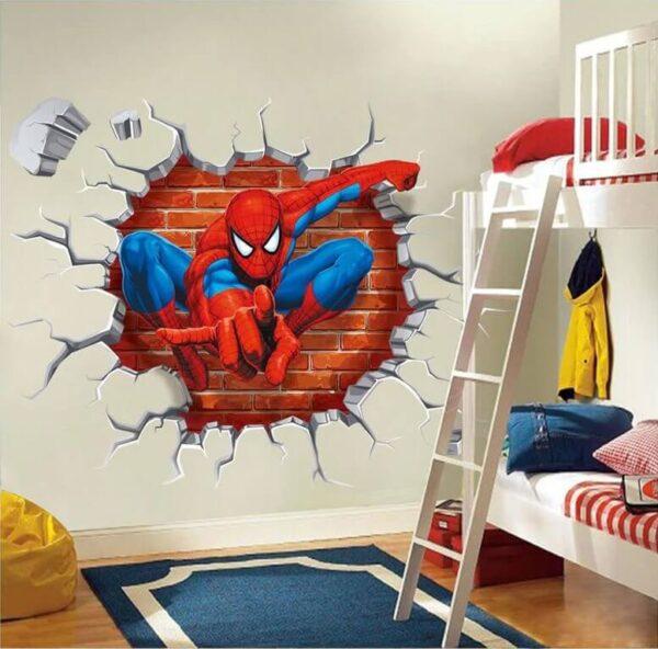 מדבקות קיר גיבורי על ספיידרמן הכל יכול יוצא מתוך קיר