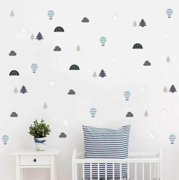 מדבקות קיר כדור פורח עצים ועננים למילוי חדר הילדים והתינוקות!