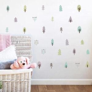 מדבקות קיר עצים נורדיים לעיצוב חדרי ילדים ותינוקות