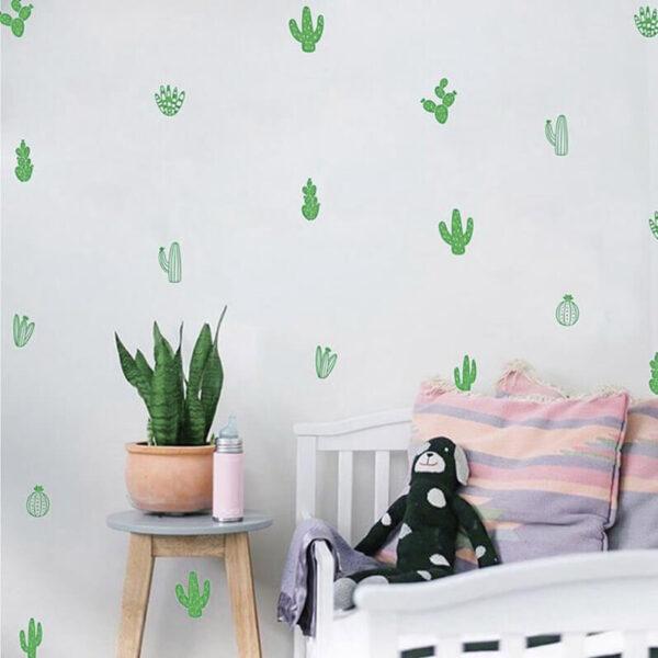 מדבקת קיר קקטוסים לעיצוב חדרי ילדים ונוער