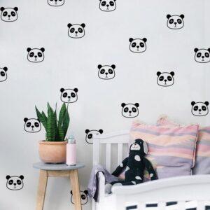 מדבקות קיר דובוני פנדה לעיצוב חדרי ילדים